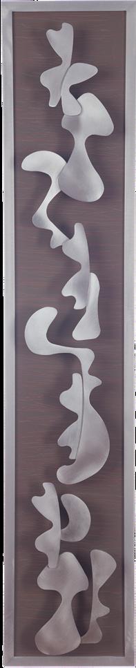 organic metal shapes above a enamel sgraffito background