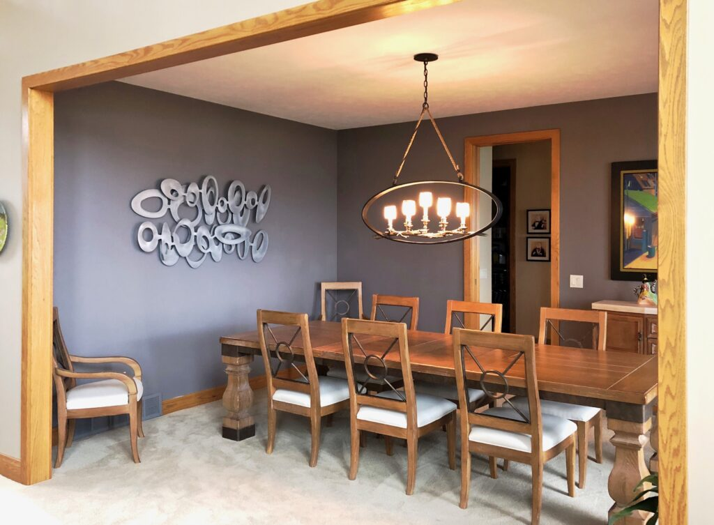 Freeform Olive in Rustic Dining Room