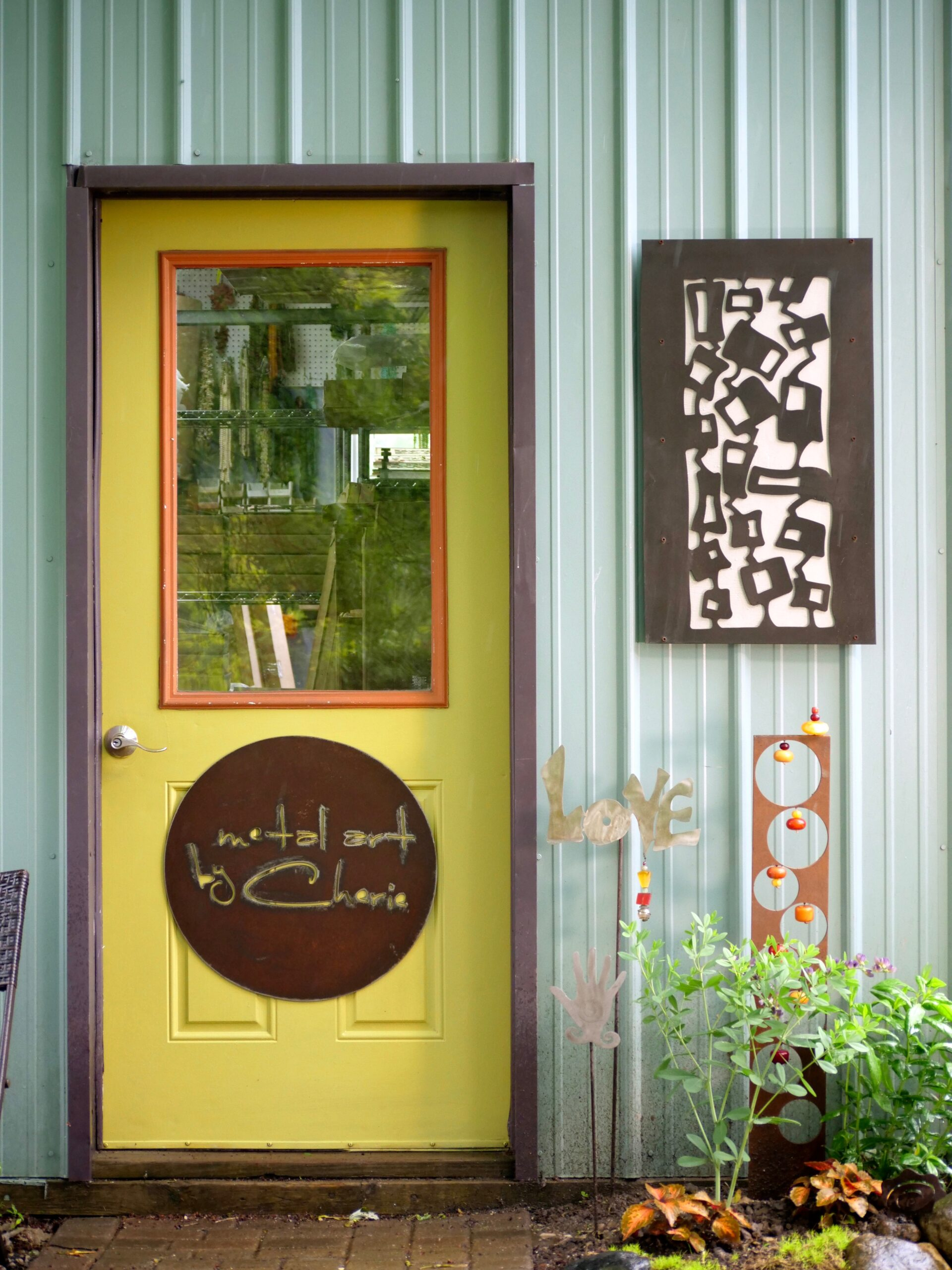 The door to Cherie Haney's studio at Art & Element